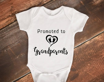 Promoted to Grandparents - First Time - Grandma & Grandpa - Pregnancy Announcement - Gerber Baby Onesies - Baby - Pregnancy Reveal - Baby