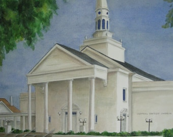 Custom Church Portrait or Wedding Venue Portrait  a Watercolor Painting by Suzanne Churchill, Wedding, Anniversary or Pastor's Gift