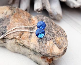 Ear threader earrings, Sapphire earrings, Swarovski earrings, Sterling Silver earrings, Dangle chain earrings, Minimalist dainty earrings