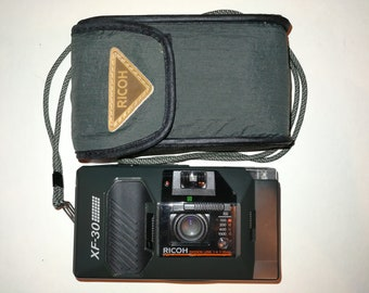 Ricoh XF - 30 vintage - film camera photography compact with f4 lens & 35mm functional and complete with case and instructions