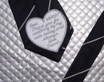 Personalised Embroidered Tie Patch, Father of the Bride. Sew on or Iron on patch for wedding. Groom patch personalized