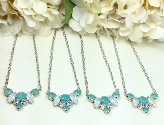 Swarovski Crystal 10MM, 8.5mm, 6mm Necklace - Floral Pendant - White Opal, Pacific Opal  & Moonlight -  Bridesmaid Gift -  FREE SHIPPING