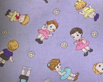 Fabric with dolls.  Quilt Gate.  Printed in Japan.  LW1960-11.  Quilting Cotton Fabric.  Choose your cut.