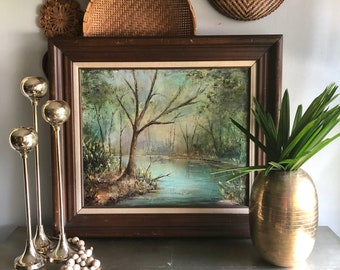 vintage framed oil painting woods stream creek woodland signed M. Zierer Smith