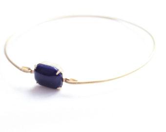 Navy Blue Set Stone Bangle, Stackable Bangle, Colored Stone Bracelet, Gem Stone Bangle, Rhinestone Bangle, Bezel Bangle