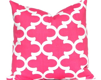 Pink Pillow, Decorative Pillow, Hot Pink Throw Pillow Cover Toss Pillow Cushion Cover Toss Pillow One All Sizes Hot Pink White Tiles