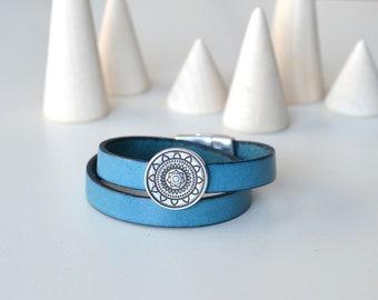Turquoise Leather Mandala Bracelet, Double Wrap Bracelet, Turquoise Bracelet, Yogi Jewelry