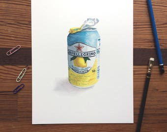 San Pellegrino Limonata - 8x10 Seltzer Watercolor Print - Affordable Kitchen Statement Art Food Lemon Sparkling Water Can  Still Life
