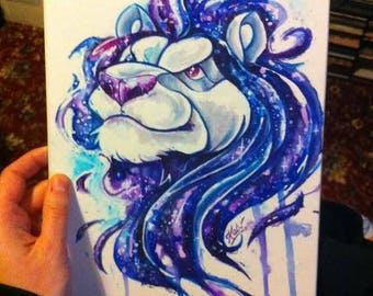 Cosmos Lion - Original art on recycled board, stars space drawing painting