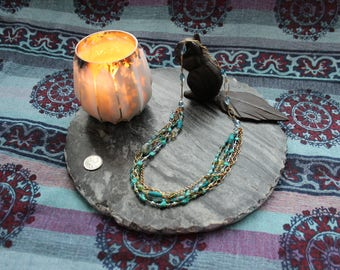 Alluring Multi-stranded necklace  with oceanic blue & green hues