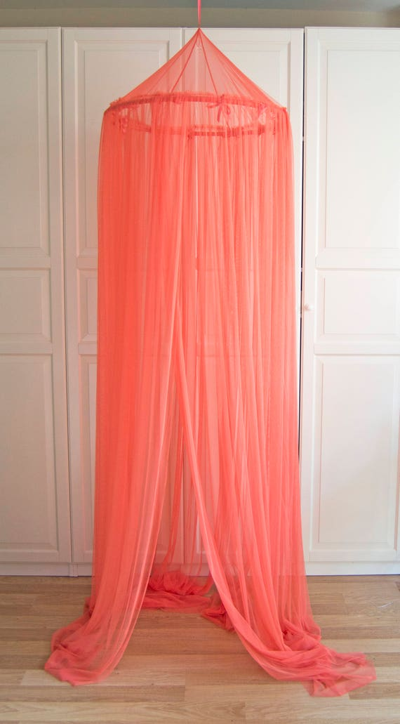Coral Baldachin - Tulle Canopy Crib Bed Mesh Canopy Nursery canopy Bed canopy Play room canopy Hanging Canopy Nook Photo & Coral Baldachin Tulle Canopy Crib Bed Mesh Canopy