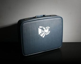 Vintage Blue Handpainted Slim Suitcase with Dove