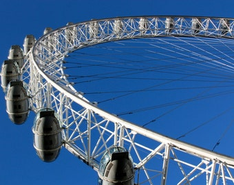 London Eye Print - London Photography - Blue Sky - Travel