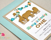 Animal Parade Invitations · A2 LAYERED · Gold Khaki and Turquoise · Birthday Party   Baby Shower   Jungle Safari   Zoo