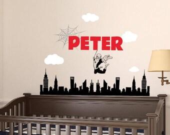 Spiderman Wall Decal - Superhero Wall Decal - Boy Name Wall Decal