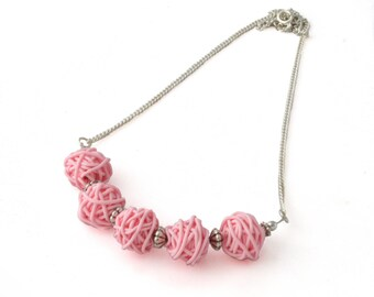 Yarn Necklace - Pink Necklace - Small Bead Necklace - Gifts for Knitters - Beaded Necklace - Polymer Clay Jewelry - Mothers Day Gift for Her