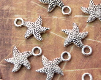 20 Tiny Starfish Charms Starfish Antiqued Tibetan Silver Double Sided 3D 12 x 12 mm