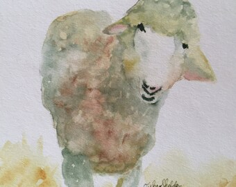 Spring Sheep Watercolor Note Card
