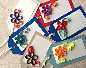 handmade paper quilled all occasion gift tags – set of 6