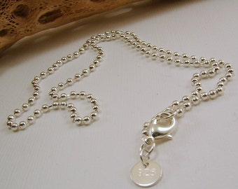16 inch, 18 inch, 20 inch, 22 inch, 24 inch 26 inch, 28 and 30 inch Sterling Silver Ball Chain - Stamped .925 - 1mm and 2mm
