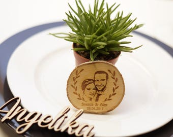 Tree disc with photo-engraving - gift - weddings - from 30 units