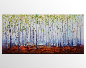 Oil Painting Canvas, Abstract Canvas Art, Landscape Art, Original Wall Art, Abstract Art, Contemporary Art, Abstract Painting, Birch Tree