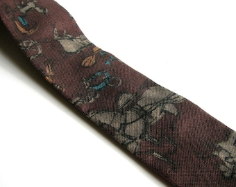 skinny brown 1950s square tie . horse & buggy novelty print mens necktie, Burdine's store for men