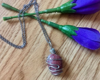 Thulite necklace, thulite pendant, wire wrapped crystal, wire wrapped thulite, gift for her, pink necklace, thulite jewelry, crystal jewelry