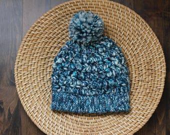 Aurora Blue Handpainted Merino Beanie | Handspun Merino Art Yarn | Luxe Thick and Thin Wool | Big PomPom | Winter Hat | Slouchy Beanie