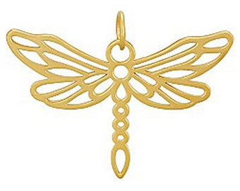 Gold Dragonfly Pendant, Gold Dragonfly Charm, Gold Dragonfly, Dragonfly Pendant, Dragonfly Charm, Gold Dragonfly Jewelry, Dragonfly
