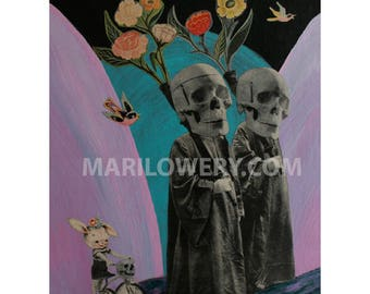 Skull Art Print, Colorful Weird Art 8.5 x 11 inch Print, Mixed Media Collage Creepy Wall Decor, frighten