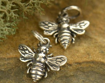 Tiny Bee Charm Sterling Silver Bumble Bee Charm Dangle Honey Bee Charm, 14x12mm