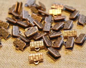 20pcs 10x7mm Clamps Crimp Ribbon End Antiqued Copper Textured Finish