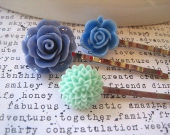 Blue Bobby Pin Set, Flower Hairpins, Wedding Hair Accessory, Prom Hair Accessory, Bridesmaid Gift, Stocking Stuffer, Small Gift