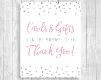 Printable Cards and Gifts for the Mommy-to-be 5x7, 8x10 Baby Shower Gift Table Sign - Light Pink and Silver Glitter Polka Dots - Download