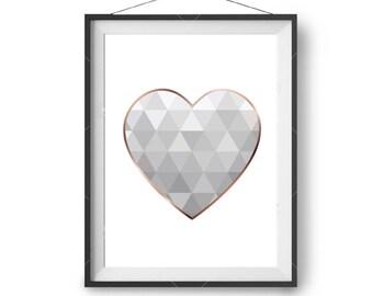 Printable Gray & Rose Gold Love Heart Print, Geometric Heart Poster, Nursery Print, Minimal Scandinavian Decor, Grey Print, Print Avenue