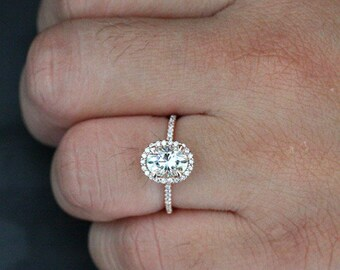 Brilliant Moissanite Diamond Oval Halo Ring 14k Rose Gold Moissanite 8x6mm and Diamond Engagement Ring (Available in 18k Gold also)