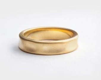 Men's Wide Ring, Gold Wedding Band, 18kt Yellow Gold Band Ring, Texture Wedding Ring, 14k Gold Ring, Smooth Band Wrinkle Band