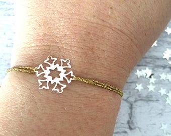 925 silver snowflake bracelet and golden nylon cord