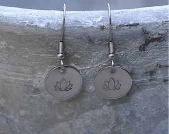 Earrings Steel lotus Flower
