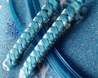 Ribbon Barrettes / Set of Two in Turquoise and Light Blue
