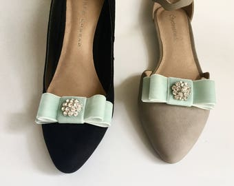 Pale Green Velvet  Ribbon Bow Plain or with Rhinestone Center Shoe Clips Set Of Two