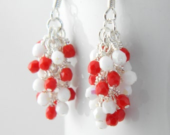 Red and White Cluster Dangle Earrings, Valentines Earrings, White and Red Earings