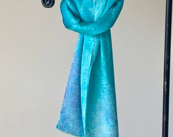 Turquoise Blue Basketweave Hand Painted Silk Scarf, Spring Fashion Scarf, Valentines Day Gift for Her, Designer Style, OOAK by Joyflower