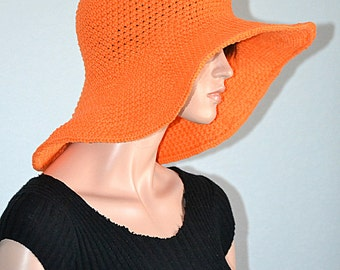 Orange Sun Hat/ Summer Hat/ Cotton Sun Hat/ Beach Hat/ Picnic Cotton Hat/ Gardening Hat/ Gift idea/ Summer Fashion/Crochet Summer Sun Hat