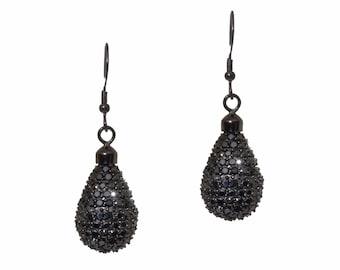 Black Rhodium  Micro Pave Cubic Zirconia Tear Drop Earrings