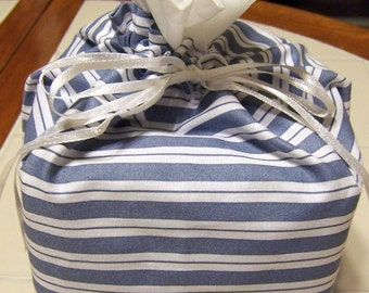 Blue and White Stripe Fabric Kleenex Tissue Cover