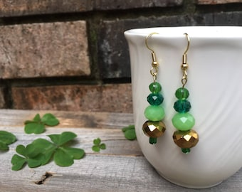 Glam Green and Gold St Patricks Day Earrings
