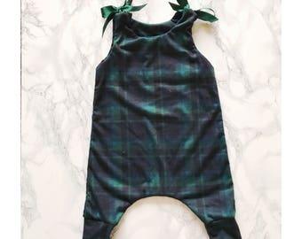 Baby romper- tartan romper with ribbon ties PRE MADE