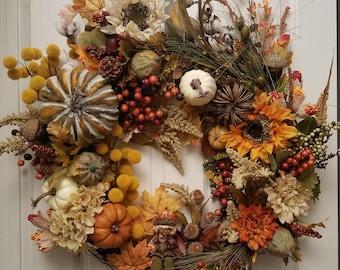 Fall Decor, Fall Wreath, Pumpkin Wreath, Seasonal Decor